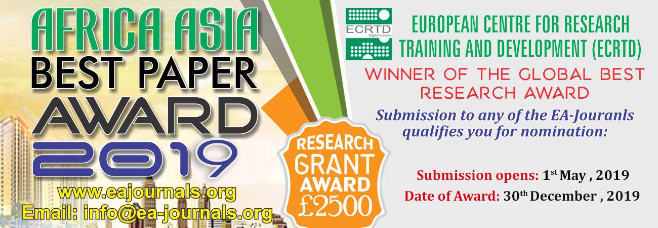 Africa Asia Best Paper Award 2019